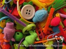 Color Sorting Objects  This bag includes 1/2 cup of random small colored trinkets. Kids get to sort all the objects by color! I have 2 set...