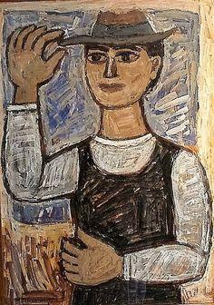 Γιώργος Σικελιώτης   Ο κύριος με το καπέλο (1960) Art Story, Greek Art, Mona Lisa, Artwork, Work Of Art, Auguste Rodin Artwork, Artworks, Illustrators