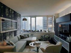 Гостиная холостяцкой квартиры на Манхэттене
