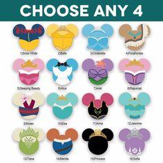 Mickey Heads: Princess Laser Die Cuts - Check out these themed Mickey Heads. Mickey Mouse Head, Mickey Y Minnie, Disney Mickey, Disney Christmas, Christmas Diy, Holiday, Disney Diy Crafts, Disney Fun, Disney Cruise