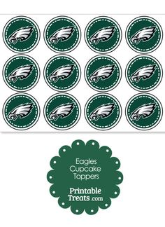 Printable Eagles Logo Cupcake Toppers from PrintableTreats.com