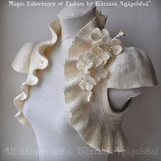 Ivory Bolero/Shrug, Bridal Merino/Silk Felted Couture, Blossoms Corsage/Brooch, Cap Sleeves
