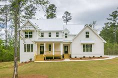 Bright white clapboard siding, dark window sashes, and a standing seam metal roof are defining characteristics of the modern farmhouse, and this house plan is a perfect example of the style. 4 Bedroom House Plans, Ranch House Plans, Best House Plans, Clapboard Siding, Modern Farmhouse Exterior, Farmhouse Style, Bonus Rooms, Modern Bedroom, Modern Bedding