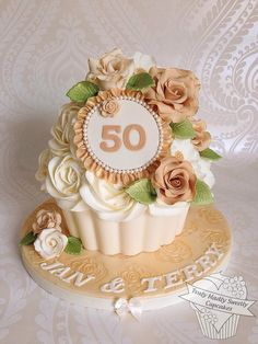 Golden Wedding Giant Cupcake