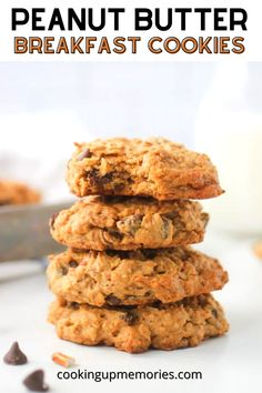 Peanut Butter Breakfast Cookies are an excellent excuse to eat cookies for breakfast!Together the peanut butter, oats, pecans, pretzels, chocolate chips, and coconut create a soft delicious texture. This healthy breakfast cookie has no flour and is packed full of protein. Make them ahead for a quick on the go breakfast or for an early afternoon snack. Delicious Cookie Recipes, Yummy Cookies, Snack Recipes, Dessert Recipes, Egg Recipes For Breakfast, Breakfast Cookies, Kid Favorite Recipe, Favorite Recipes, Peanut Butter Breakfast