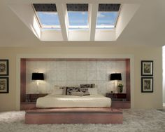 Bedroom Design, Pictures, Remodel, Decor and Ideas - page 17. This is just an awesome room. Love the pattern on the sky light panes for closing.