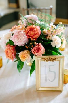 Rose, peony, stock, and hypericum berry centerpiece! Photograph by Canary Grey