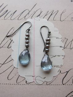 blue topaz gray pearls sterling silver