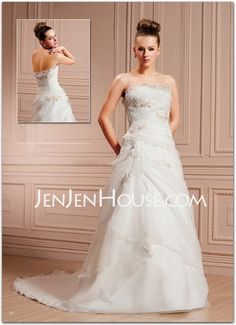 Wedding Dresses - A-Line/Princess Strapless Chapel Train Organza  Satin Wedding Dresses With Ruffle  Lace  Beadwork (002000400) http://jenjenhouse.com/A-line-Princess-Strapless-Chapel-Train-Organza--Satin-Wedding-Dresses-With-Ruffle--Lace--Beadwork-002000400-g400 198.99