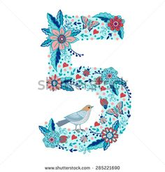 Flower number 5. Bright floral element made from birds, flowers, petals, hearts and twigs. Illustration for greeting cards, invitations, and other printing projects. - stock vector