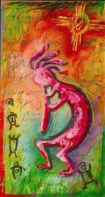 "Tim Yanke ""Kokopelli"" I love the background ! Native American Flute, Native American Paintings, Native American Indians, Painted Slate, Southwest Art, Alcohol Ink Art, Human Art, Native Art, Land Art"