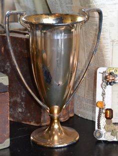 Antique Tall Loving Cup Trophy Great Patina - Paris Couture Antiques $145.00