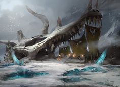 Skull of dragon in the snow, used as a Frontier Bivouac | Titus Lunter | Art for Magic: the Gathering