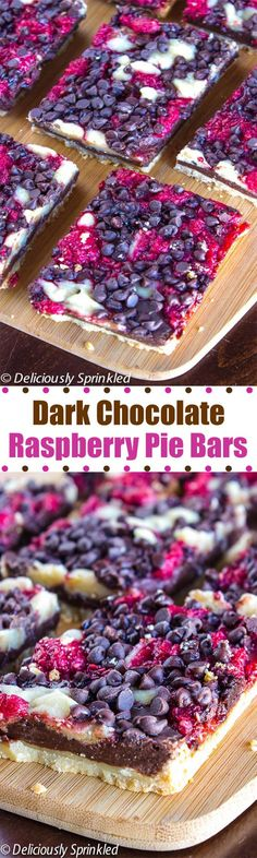 Dark Chocolate Raspberry Pie Bars- a delicious dessert that's super easy to make.  #Desserts Sherman Financial Group