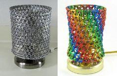 Como hacer una lampara de metal con reciclaje. Continuando con nuestra colección de manualidades con material reciclado, el día de hoy te traemos esta hermosa pantalla de lampara tejida con los ganchos de latas recicladas, una forma hermosa para decorar tu hogar y además ayudar al planeta, sigue este sencillo tutorial. http://wp.me/p1ytFq-KH