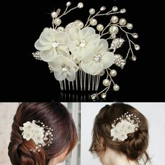 Sale 22% (10.88$) -  Bride Beige Flower Rhinestone Pearl Hair Comb Elegant Wedding Prom Bridal Headpiece