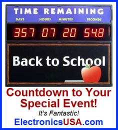 Large LED Event Countdown Wall Clock with Days counts down to your special day! Generate excitement and motivation with this great wall countdown clock for your event. It's a countdown clock with days, hours, minutes, seconds. Event Countdown, School Countdown, Countdown Clock, Clock Timer, Digital Timer, Clocks, Special Events, Back To School, Electronics