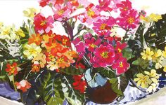 Painting of dish and primroses