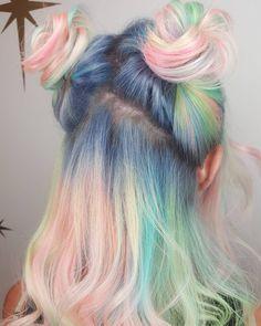 Pastel hair, pastel rainbow hair, colorful hair, pastel pink, dye my hair Yellow Hair, Pink Hair, Dye My Hair, New Hair, Hair Inspo, Hair Inspiration, Half And Half Hair, Dyed Hair Pastel, Blue Hair