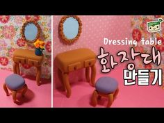 Miniature dressing table air dry clay / polymer clay tutorial