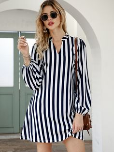 To find out about the Notched Collar Vertical Stripe Shirt Dress at SHEIN, part of our latest Dresses ready to shop online today! African Fashion Dresses, Fashion Outfits, Jeans Fashion, Sarah Jessica, Casual Dresses, Short Dresses, Mini Dresses, Women's Dresses, Summer Dresses