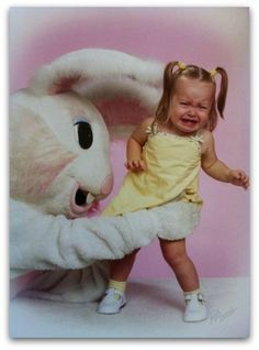 Creepy Easter bunny - poor kid! WTH?!