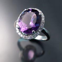Amethyst Ring with Diamond Halo - Purple Gemstone & Diamonds - White Gold Rings - Elegant Jewelry Designs - zorandesignsjewelry.com