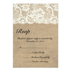Lace Save the Date Wedding Ivory Lace and Warm Burlap Wedding RSVP Card