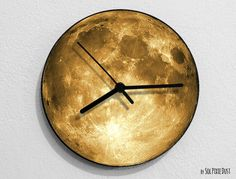 Satin Moon - Moon Wall Clock #Handmade #Modern