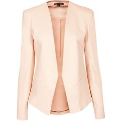 TOPSHOP Skinny Tailored Blazer ($46) ❤ liked on Polyvore featuring outerwear, jackets, blazers, coats, tops, nude, topshop, topshop blazer, beige jacket and nude blazer