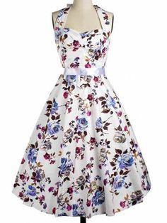 Prezzi e Sconti: #Vintage halter floral fit and flare dress for  ad Euro 28.36 in #Women dresses vintage dresses #Moda