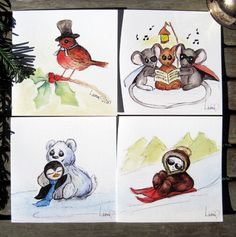 Pack of 4 Cute Christmas cards Beautiful by SproutymouseDoodles