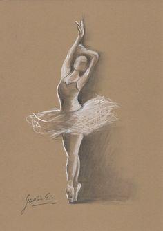 ORIGINAL pencil drawing 12 x 8 on BROWN paper of BALLERINA by Ewa Gawlik.