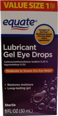 Lubricant Gel Drops for Moderate-Severe Dry Eye Relief 1oz by Equate, Compare to GenTeal. Compare to GenTeal Moderate-Severe Dry Eye Relief active ingredients. Use as a protectant against further irritation. Carboxymethylcellulose Sodium 0.25%, Hypromellose 0.3%. For the temporary relief of discomfort due to minor irritations of the eye from exposure to wind or sun. Relieves dryness of the eye(s). Carboxymethylcellulose Sodium 0.25%, Hypromellose 0.3.