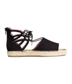 Check this out! Peep-toe espadrilles in imitation suede with lacing at top and zip at back. Imitation leather lining, jute insoles, and rubber soles. - Visit hm.com to see more.