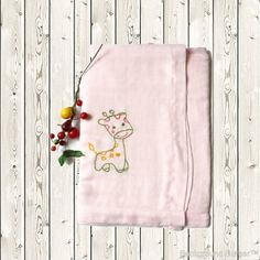 Double gauze swaddle blanket, light pink swaddle, baby shower gift, neutral/boy/girl swaddle, hand embroidery swaddle blanket + FREE BAG