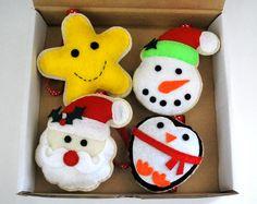 Felt Christmas Ornament Set Magic BOX  Star snowman by Mariapalito
