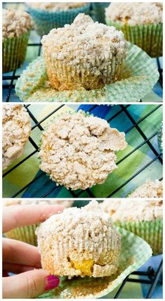 Brown Butter Peach Crumb Muffins - The perfect summer brunch food.