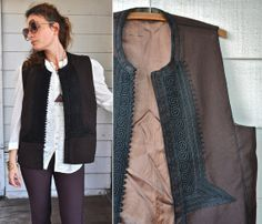 Unisex Embroidered Wool Vest Ethnic Boho Tribal by LaDeaDeiSogni, $88.00