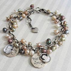 Pearly Bracelet w/one photo charm