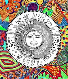 color, hippie, hipster, moon, sun - inspiring picture on Favim.com