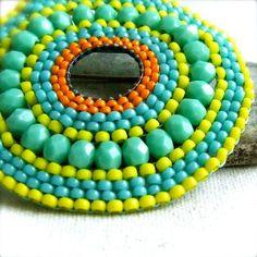 Beaded Brooch - Vibrant Teal Beadwoven Glass - Brooch - Neon Glow - Beadwoven Jewelry - Handmade Fashion