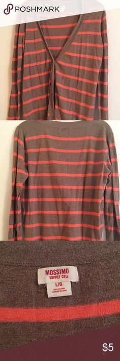 Brown & Coral Striped Mossimo Cardigan Brown & Coral Striped Cardigan, Mossimo Brand, Size L, Hardly used and was packed in storage and I never wear it. Willing to Bundle!! Mossimo Supply Co Sweaters Cardigans