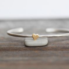 Silver and Gold Heart Cuff Skinny Cuff by LilianGinebra on Etsy