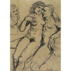 Abraham and Hagar Surprised by Sarah, 1994 charcoal on paper 30 1/4 x 22 inches collection @ashmoleanmuseum copyright R.B. Kitaj Estate