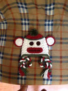 Sock Monkey Hat Christmas Crochet Hat Crochet by lisaswick, $20.00