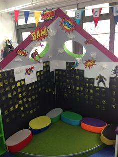 Thiking about doing a superhero classroom theme? WeAreTeachers has you covered. Read on for super classroom decorations, tips, and tricks. Superhero Preschool, Superhero Classroom Decorations, Classroom Themes, Classroom Organization, Superhero School Theme, Classroom Displays Eyfs, Superhero Kids, Reading Corner Classroom, Book Corner Eyfs