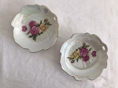 Vintage rose lustreware trinket dishes Set of 2 Floral   Etsy Shabby Chic Decor, Vintage Decor, Grace Home, Dish Sets, Vintage Roses, Style Icons, Gifts For Her, Vintage Jewelry, Decorative Plates