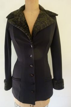 Vintage Betsy Johnson Jacket Stretch Navy Blue Knit Faux Fur Collar and Cuffs Boho Punk Equestrian Style Size S 80's Made in USA by ZoomVintage on Etsy