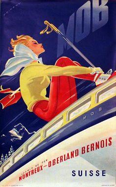 Martin Peikert, Chemin de fer - Montreux-Oberland Bernois vintage ski poster